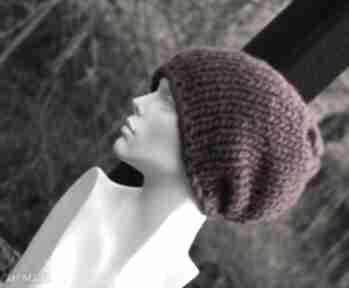 Syberianka bordo 100% wool czapa czapki aga made by hand ciepła