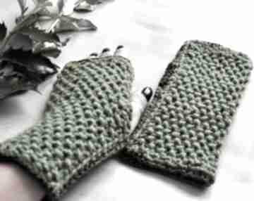 Zielone mitenki rękawiczki the wool art rękawiczki, mitenki