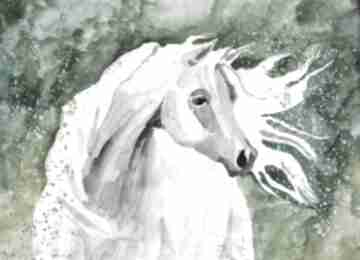 Adriana Laube Art. akwarela koń zwierzęta łąka obraz
