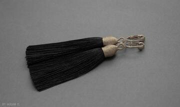 Klipsy z chwostami sisu sznurek, wyjściowe, długie, eleganckie