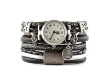 Zegarek - bransoletka, owijany, czarno złoty z monetą zegarki