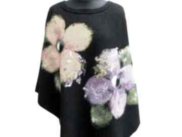 Ponczo w kwiaty poncho meganaart czarne ponczo, klasyczne