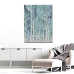 Grafika turkusowa drzewa tulipany 90 x 120 minimalizm