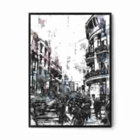 Plakat obraz blue city 50x70 cm b2 hogstudio abstrakcja, obraz,