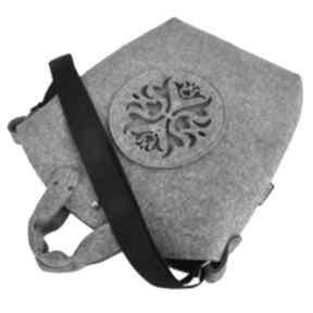 Torebka filcowa - biggest bag szary filc i ażurowa aplikacja
