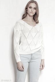 Ażurowa bluzka - swe144 ecru swetry lanti urban fashion sweter