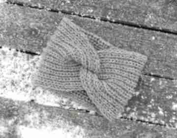 Opaska z węzłem tweed szara opaski aga made by hand dziergana