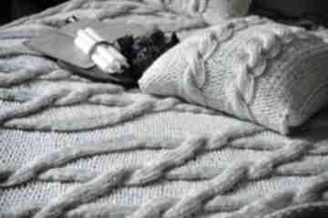 Ivory kremowy komplet koc poduszki koce i narzuty woolbyme