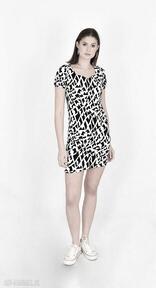 Sukienka pola biało czarna mini sukienki trzyforu mini, koszula