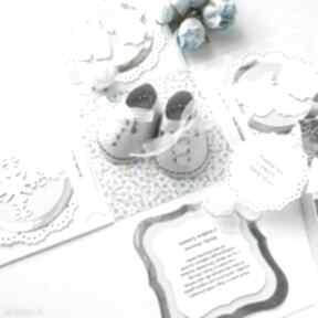 Exploding box - buciki scrapbooking kartki biala konwalia kartka