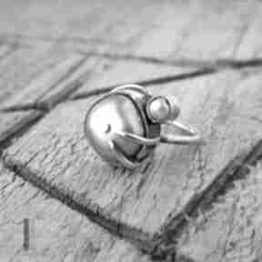 Wild pearl double pink srebrny pierścionek perłami perła