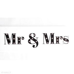 Świecący napis mr & mrs prezent dekoracja ślub młoda para wesele cosniecos and