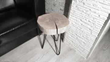 Stolik kawowy, plaster brzozy, czarna żywica stoły sciete