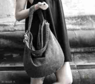 Workowata torba z grubo plecionej tkaniny do noszenia