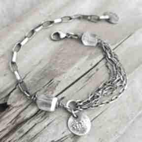 Grey Line project. srebro akwamaryn surowa-biżuteria