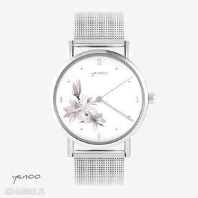 Zegarek, bransoletka - różowa lilia metalowy zegarki yenoo