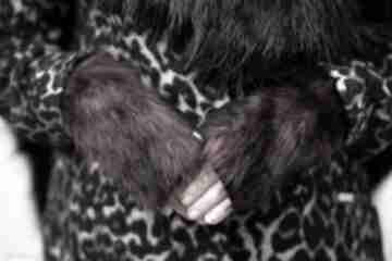 Rekawiczki bezpalcowe z futerkiem czarne rękawiczki gofashion