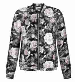 Urocza kobieca dzianinowa bomberka w różowe kwiaty s-xl bluzy