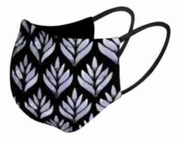 Maska maseczka na twarz kolorowa wielorazowa kobaltowe listki