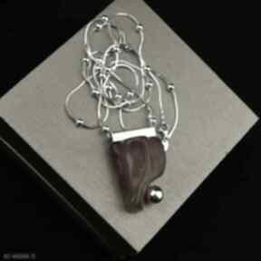 Długi dwustronny naszyjnik z bursztynem srebro naszyjniki