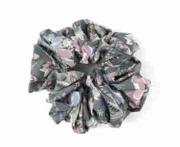 Supermodna gumka scrunchie xl morska zieleń w pawie ozdoby