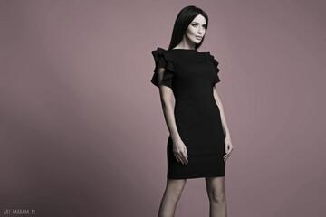 Sukienka t165, czarna sukienki tessita sukienka, elegancka,