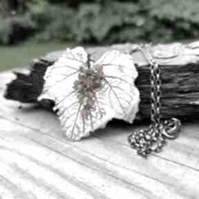 Srebrny liść z gronkiem naszyjniki onyksela liść, art clay