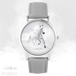 Zegarek - biały koń biegnący szary, skórzany zegarki liliarts