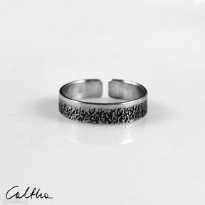 Piasek - srebrny pierścionek 210112 -02 obrączki caltha srebrna