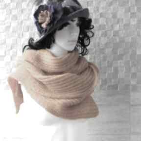Musztardowy szal szaliki albadesign szal, długi, akcesoria, zima