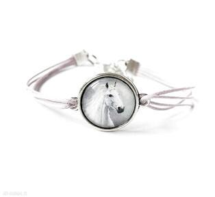 Bransoletka - biały koń lila, sznurki liliarts bransoletka