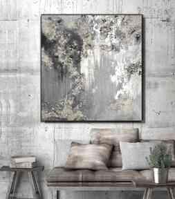 Kopalnia złota - obraz do salonu ręcznie malowany abstrakcyjny