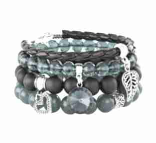 Sea-green & black set with bead pendants lavoga jadeit