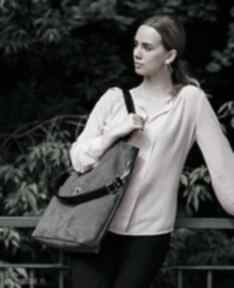 Duża szara zamszowa torba torebki bags philosophy torebka