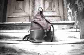 Duży damski plecak w kolorach buraczkowym i brązowym od ladybuq