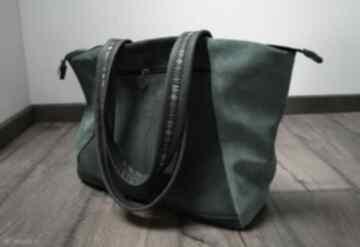 Lukrecja skórzana zamszowa torba chłodne zielenie czajkaczajka