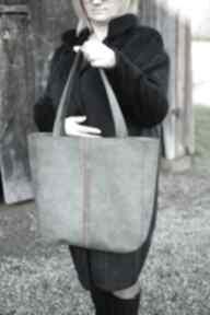Skórzana torba khaki na ramię juti bags zakupy, damska torebka