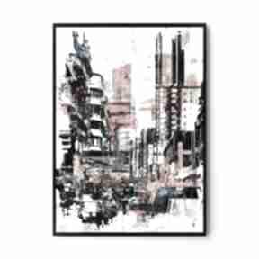 Plakat obraz town abstrakcja 50x70 cm b2 hogstudio abstrakcja
