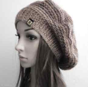 Obszerna bereto-czapka w rudościach czapki barska czapka, beret