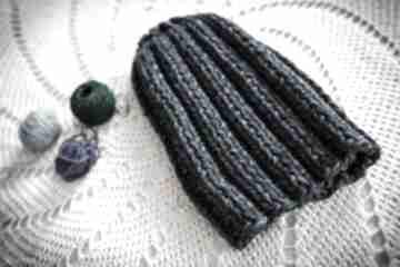 Czapka handmade granatowy melanż czapki hermina hand made
