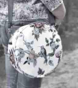 Upominki święta. Round bag - niebieskie kolibry na ramię torebki