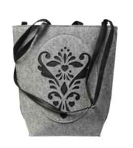 Shopper bag rozetka na ramię czechdraft torebka, filc, filcowa,