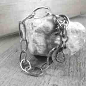 Surowy łańcuch - bransoletka irart srebro oksydowane,