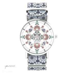 Zegarek - folkowa mandala niebieski, kwiaty, nato zegarki yenoo
