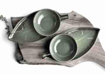 Zestaw ceramiczny dla dwojga - 2 x talerz liść plus miseczka