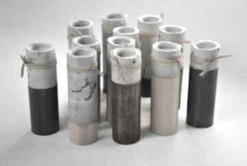 świeczniki? drewno cement adwent komplet tealight