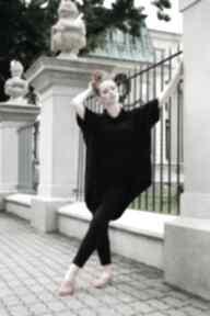 Bluza damska tunika luźna asymetryczna czarna bluzy