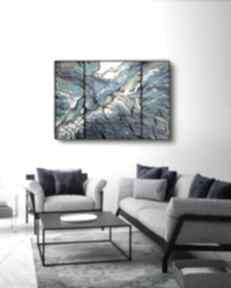Rafa w sieci - abstrakcja ręcznie malowana 100x70 cm art is hard