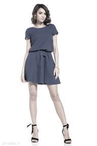 Elegancka sukienka mini ściągnięta w talii, t333, granatowa