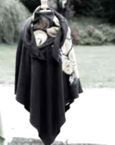 Czarne damskie poncho filcowane ruda klara poncho, komplet, etno